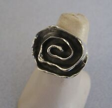 Mexican 925 Sterling Silver Taxco Oxidised Modern Infinity Spiral Ring Size 7.5