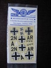1/72 ABT DECAL N°114 MESSERSCHMITT BF 110 C NOEVEGE ETE 1942