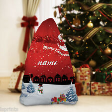 PERSONALISED RED CHRISTMAS VILLAGE DESIGN SANTA SACK LARGE STOCKING FESTIVE