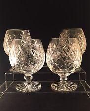 4 Tutbury Crystal Brandy Glasses Signed 1st Quality 12 Cm Tall