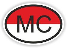 MC MONACO Autocollant OVAL avec drapeau Pour Voiture Caravane Pare-choc casque