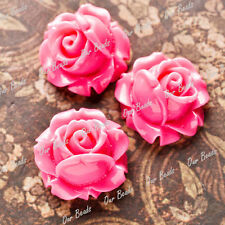 12 Pcs Rose Red Beautiful Rose Resin Flower Cabochons Beads RB0747-7