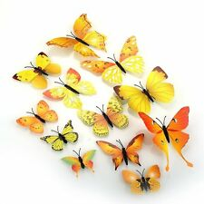 Removable 12PCS 3D DIY Yellow Butterfly Wall Stickers  Decor Art Decorations
