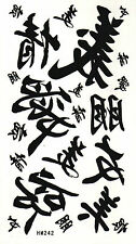 Chinese Letters Temporary Fake Tattoos Waterpoof Calligraphy Body Art Transfer