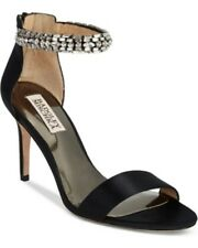 Badgley Mischka Sandals CARLOTTA Black Satin Designer EVENING Jeweled SZ 10 $235