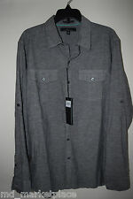 NWT Mark Anthony Mens Slim Fit Button Down Shirt Top Roll Up Gray Marble S $54