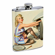 Flask 8oz Stainless Steel Classic Vintage Model Pin Up Girl Design-077 Whiskey