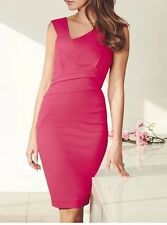 Lipsy Michelle Keegan Size 10 Asymmetric Pleated Pencil Pink Dress Cocktail