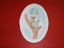 VINTAGE PORCELAIN HAND PAINTED OVAL PLATE/TRAY KOALA BEAR APPROX. 10 INCHES