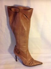 Top Shop Brown Knee High Leather Boots Size 7