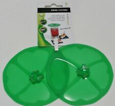 "Charles Viancin 4"" Silicone Clover Shamrock Drink Cover For 3.5"" Glass Set of 2"
