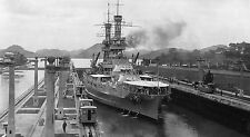 WWII B&W Photo USS Arizona BB-39  Panama Canal Pre-World War Two WW2 USN / 7085