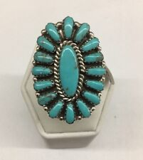 Native American Navajo Indian Sterling Silver Turquoise  Cluster Ring Size 9