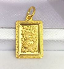 24K Solid Yellow Gold Cute Animal Sign Dragon Rectangle Charm/ Pendant,2.55Grams