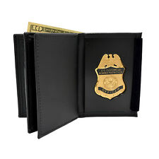 Customs Border Patrol CBP Recessed Police Badge Wallet Black Bi-Fold DHS