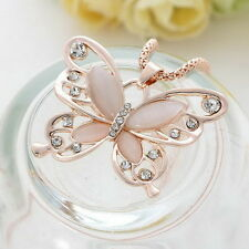 Rose Gold butterfly Pendant Necklace Stainless steel Fashion Women Jewelry 30
