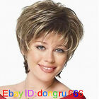 Cosplay Pale Blonde & Darkest Brown Mixed short Wig With Free wig cap A44