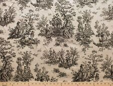 Medieval Castle Folklore Toile Cotton Duck Fabric Print Sold by the Yard