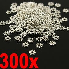 300PCS Tibetan Silver Plated Daisy Spacer Metal Beads For Jewelry Making 4mm