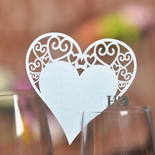 60pcs Wedding Party Decoration White Heart Shaped Glass Place Name Cards Table