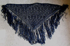 Beautiful and Unique Dark Blue Woman's Hand Tied Shawl / Wrap