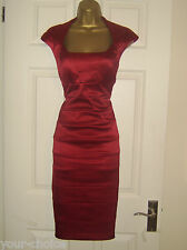 SANGRIA FAB RED SATIN PENCIL WIGGLE EVENING PARTY DRESS SIZE 14 16