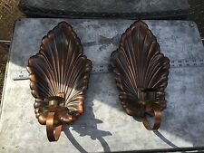 2 VTG WALL METAL Candle SCONCES COPPER CRAFT GUILD BRASS ? Pair Acanthus LEAF US