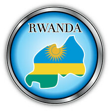 Rwanda Map Flag Silver Medal Car Bumper Sticker Decal 5'' x 5''