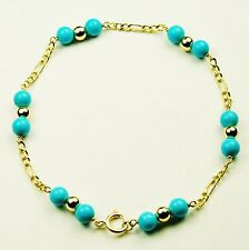 14k solid y/gold lightweght 8 inches natural Arizona Turquoise bracelet