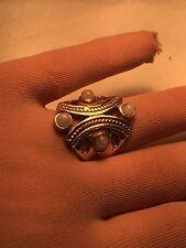 Handmade Tribal Tibet Genuine Rainbow Moonstone Brass Knuckle Ring