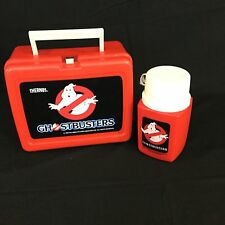 Vintage 1985 Ghostbusters Red Plastic Lunchbox w Thermos Columbia Pic RARE HTF