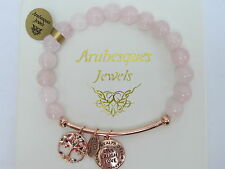 GENUINE ROSE QUARTZ BRACELET Live Laugh Love STERLINA MILANO MESSAGE/SENTIMENTS