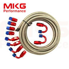AN4 4-AN 4AN Stainless Steel Braided Oil Fuel Line Hose+Fitting Hose End Kit