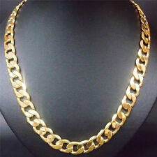 490*6mm Mens Heavy 14K Yellow  Gold Filled Curb Cuban Link Chain Necklace