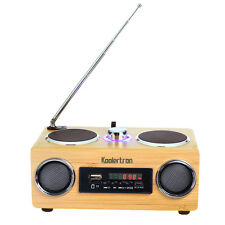 MP3 Stereo System Radio+Remote Control Speaker Bamboo Boombox Card Portable New