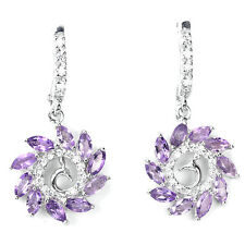 Natural PURPLE AMETHYST & White CZ Sterling 925 Silver PEACOCK Design EARRINGS