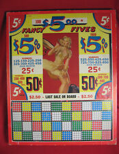 Rare Vintage Unpunched Game Board Fancy Fives L5123 Pin-up Girl $5 Made in USA