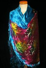 LUXURY LARGE SILK VELVET DEVORE SHAWL / CAPE / SCARF HALF-MOON SHAPE WRAP ROUND*