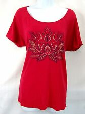 Lucky Brand Women's New Red Lotus Flower Short Sleeve Top T-Shirt Tee L NWT