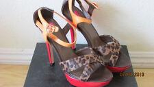 SMOKIN Hot NEW 2b BEBE Avis MISCHIEF RED/BROWN PLATFORM Sandals 7