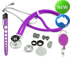 Quality Stethoscope Sprague Style+Neuro Penlight+Retractable ID Clip- Purple