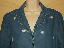 Denim Blouse L Womens 14-16 Top Agapo Shirt Floral Embroidered Short Sleeve 4m12