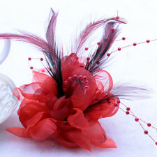 HOT Red Pearl Corsage Hair Clips Flower Fascinator Feather Hairpin Party Wedding