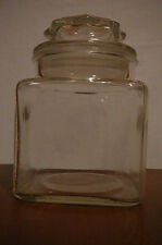 """Vintage 5.25"""" tall square glass canister/ apothecary jar with lid-no seal"""