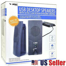 VIBE Ultra Slim 2-Piece 2 Channel USB Powered 3.5mm Jack Multimedia Speakers NEW