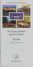 Mercedes Preisliste 2.8.99 Coupé Roadster Cabriolet CL SL CLK SLK Preise 1999