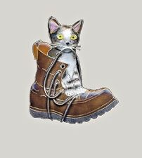 Puss In Boots CAT PIN STERLING Cloisonne Enamel Brooch by Bamboo Jewelry - Boxed