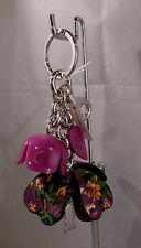 NWT COACH PURPLE AND BLACK Floral Resin PVC Tea Rose Key Chain FOB 58517
