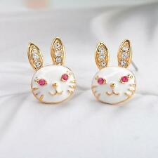 New Gold Plated Novelty Rabbit Head Earring Studs With Clear Pink CZ Gems