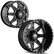 "Set of 6-Mayhem Monstir Dually 19.5"" 8x165.1 Black Wheels Rims-Lugs INCLUDED"